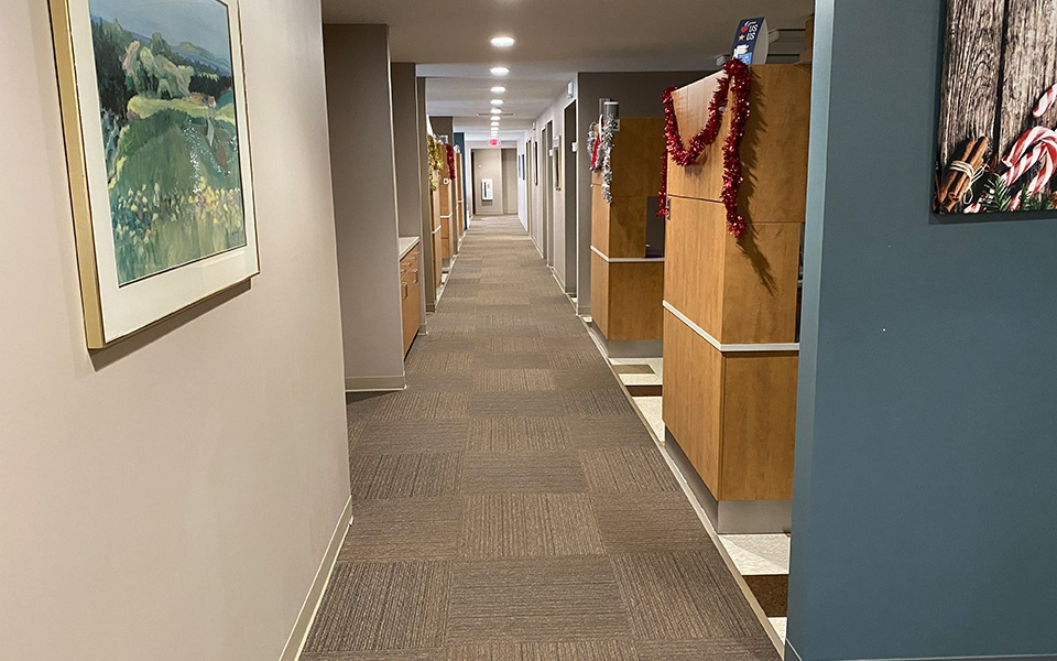 Hallway leading to dental exam rooms